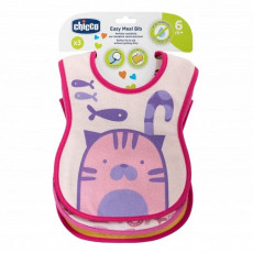 Слюнявчик Chicco WEANING BIB 6M+ 3PCS GIRL/NEUTRAL